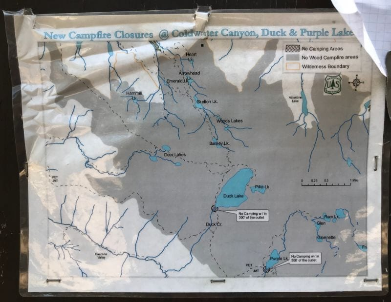 Coldwater canyon, duck lake and purple lake map