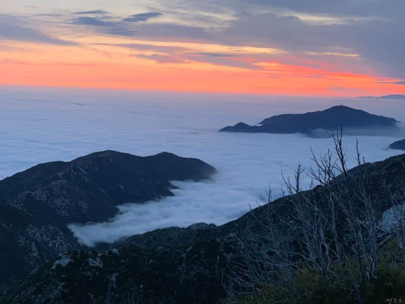 san gabriel peak aobve the clouds