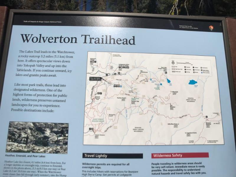 wolverton trailhead sign