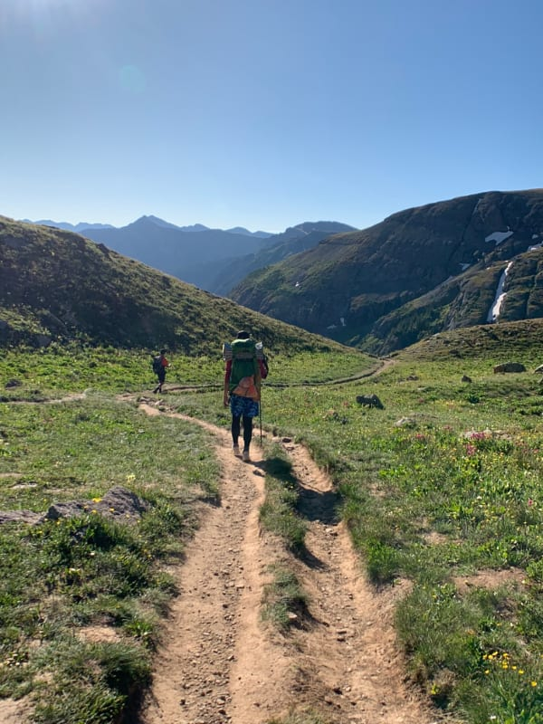 hiking back to trailhead from ice lake in colorado