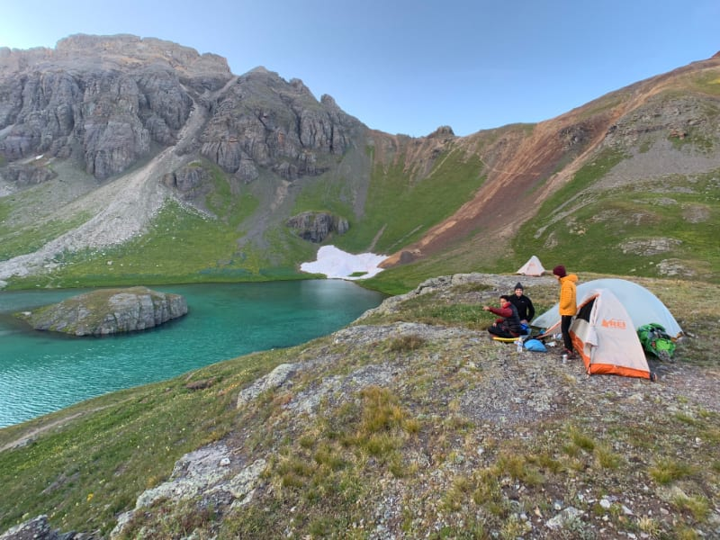 camping at island lake in san juan mountains colorado