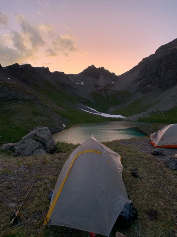 sunset and tent views in big agnes fly creek hv ul2