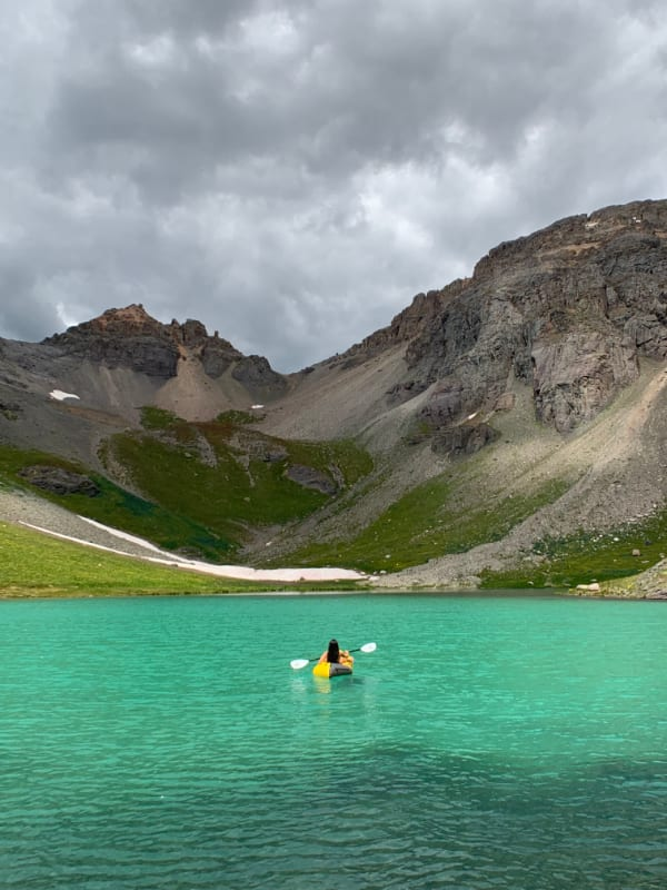 packrafting in island lake colorado