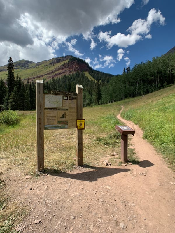 ice lake trailhead to island lake near telluride, colorado