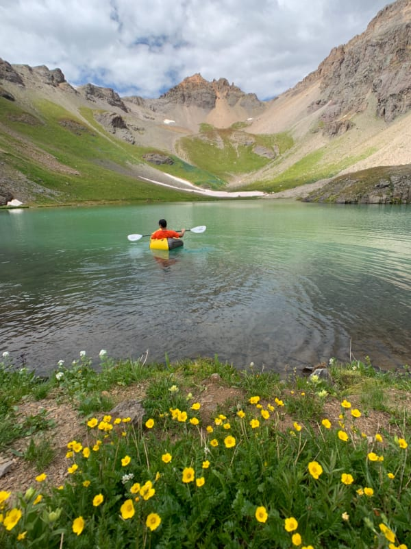 packraft and wildflowers colorado san juan mountains