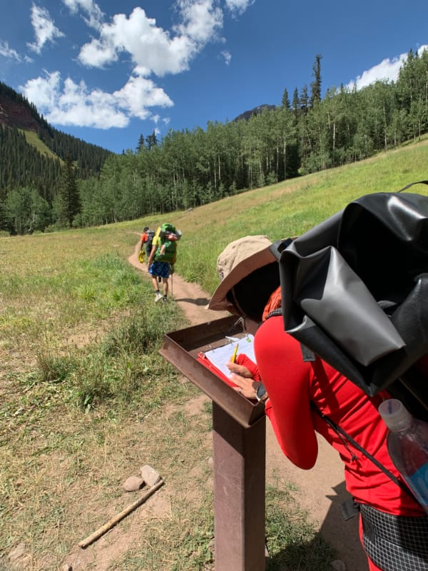 trail register at ice lake trailhead