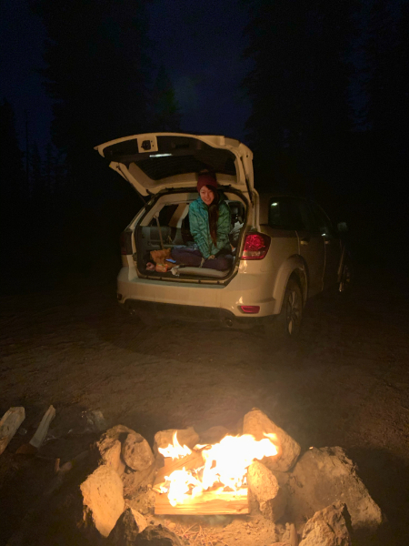 car camp with campfire