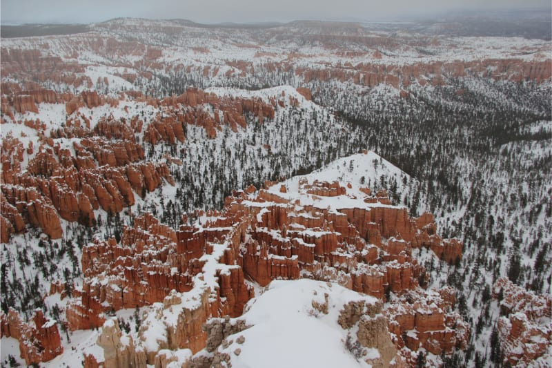 bryce canyon amphitheater in winter