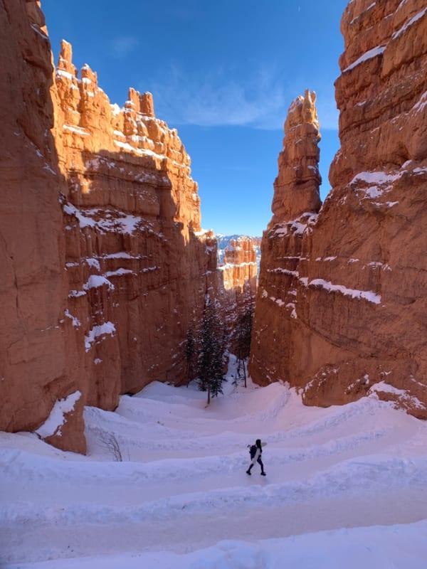 navajo trail bryce winter snow