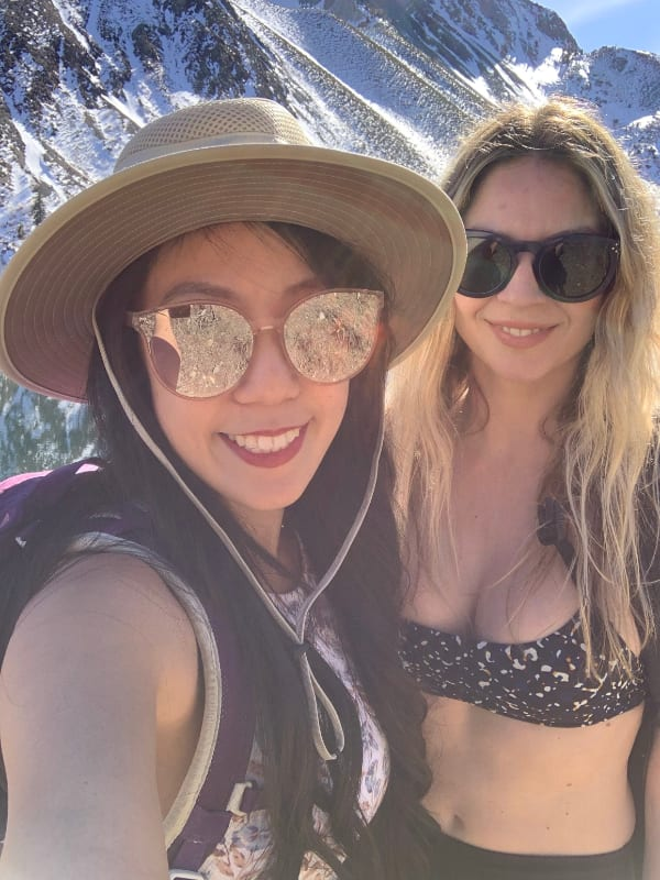 asian white girls selfie hike