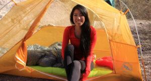 big agnes tent girl camping